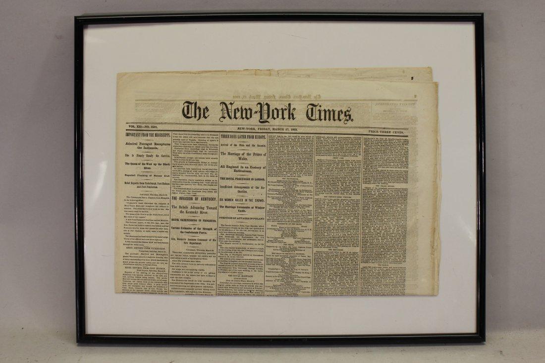 Civil War newspaper: The New York Times, March 27, 1863