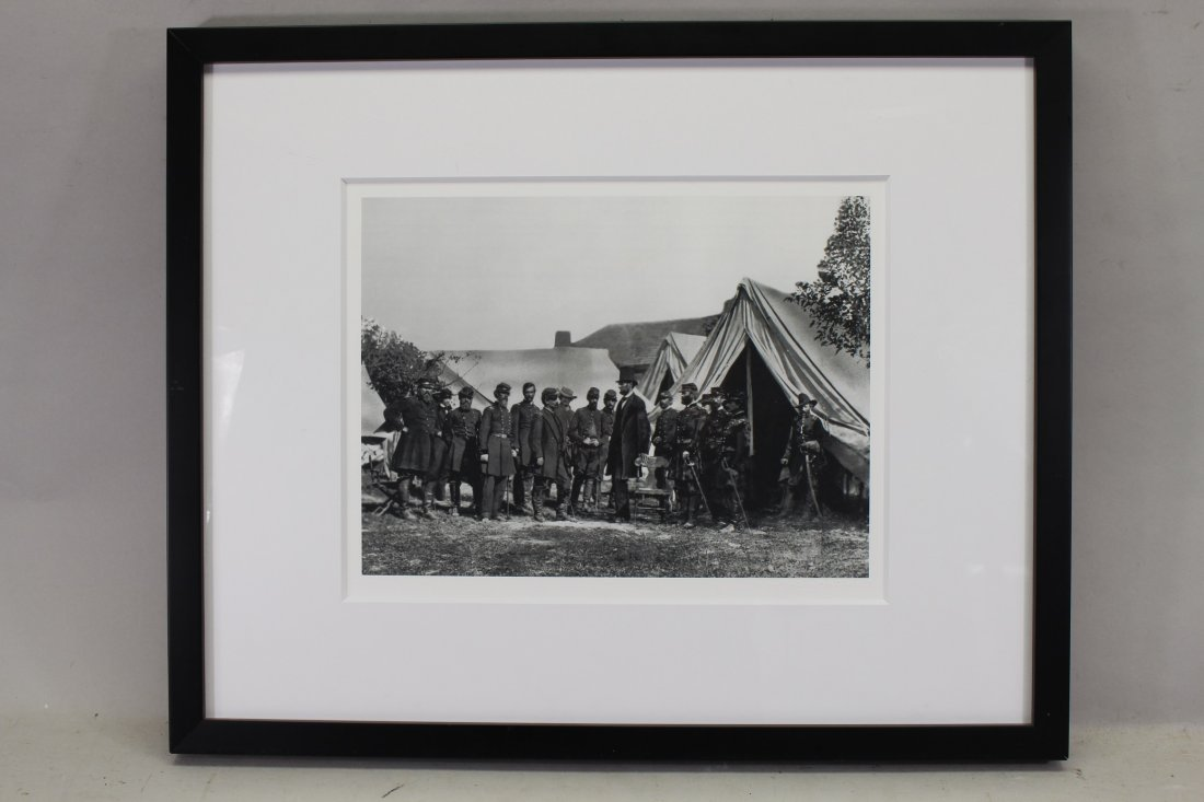 Framed photo of President Lincoln at Antietam