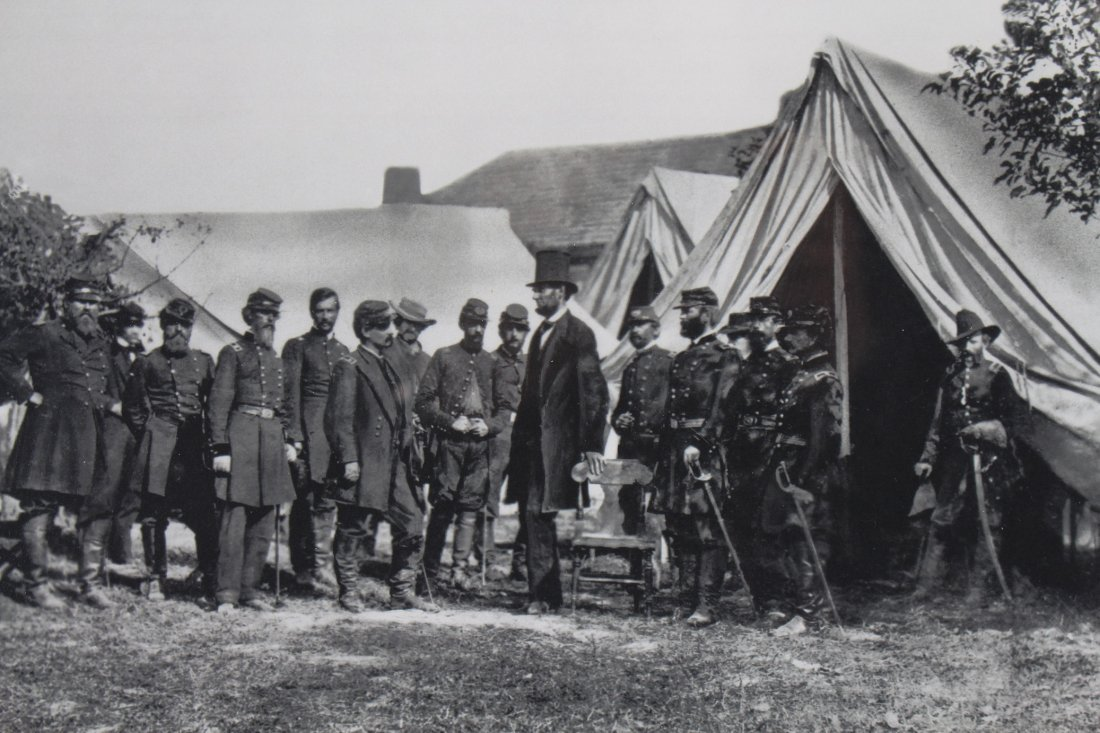 Framed photo of President Lincoln at Antietam - 2