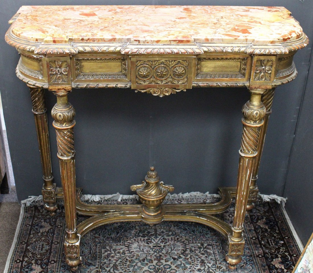 French Gilt/Carved Wooden Console Table w/ Marble Inset
