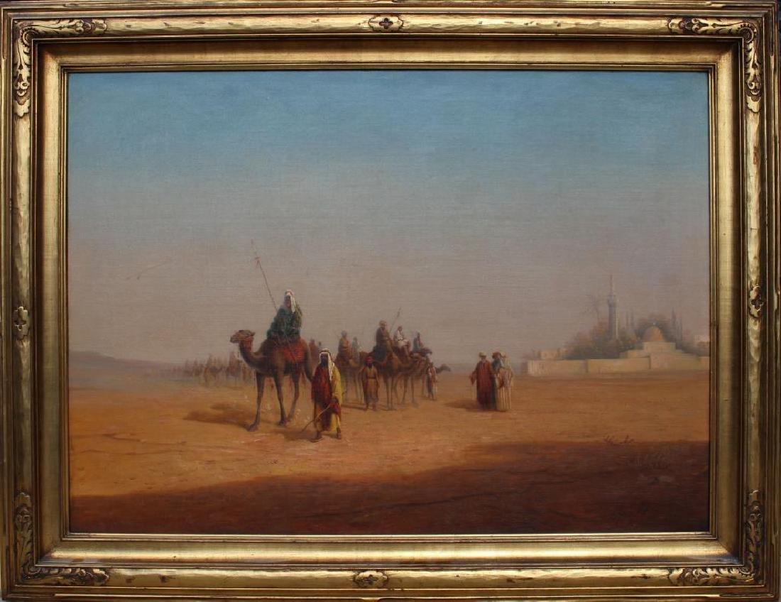 Signed, Large 19th C. Orientalist Caravan Painting
