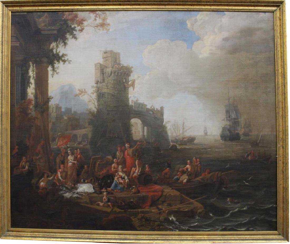 Large 17/18th Old Master Coastal Scene w/ Figures