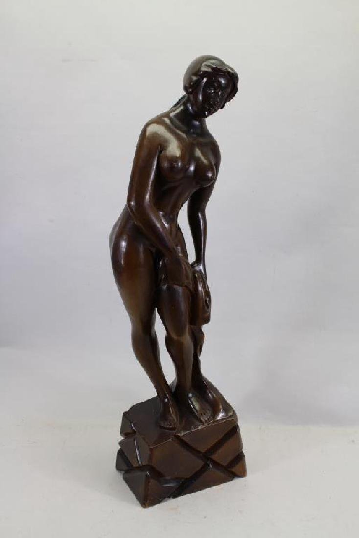 Large Carved Wooden Nude Woman Sculpture