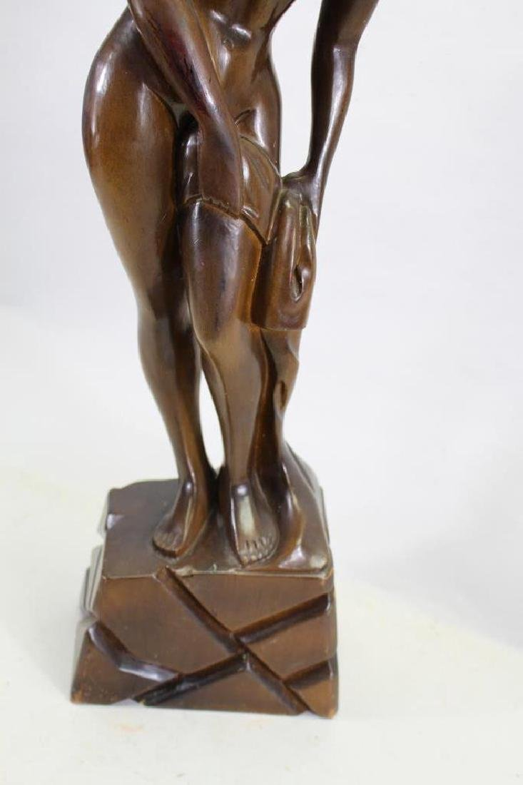Large Carved Wooden Nude Woman Sculpture - 3