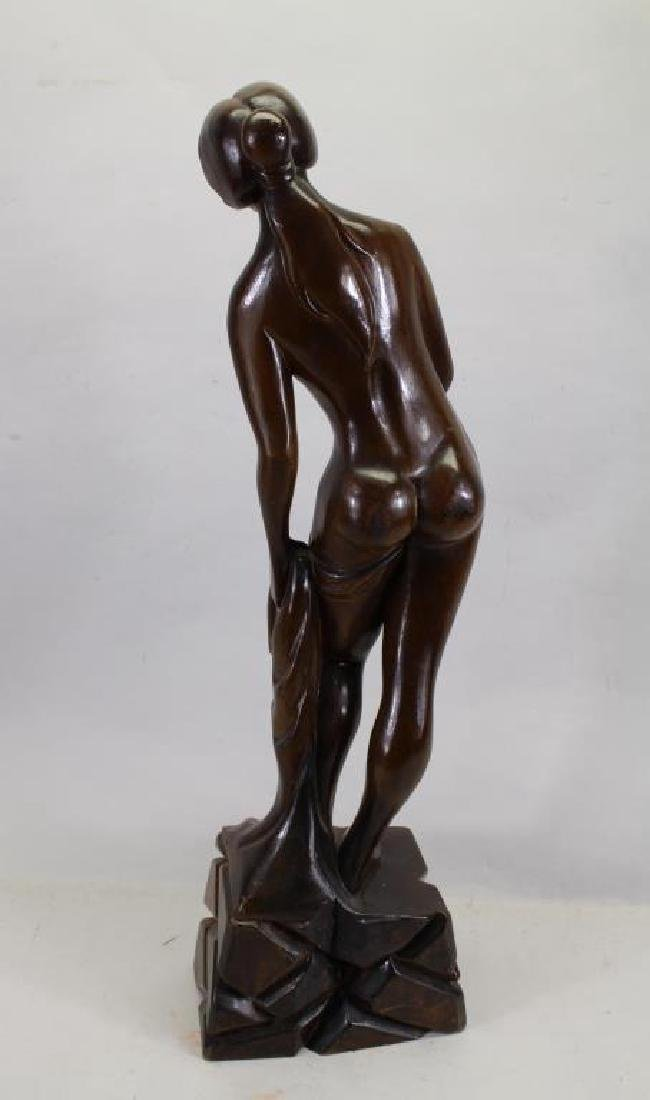 Large Carved Wooden Nude Woman Sculpture - 4