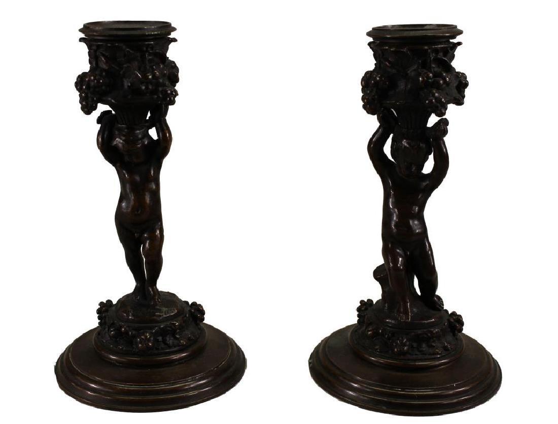 Figural Barbedienne Cherub Candle Sticks
