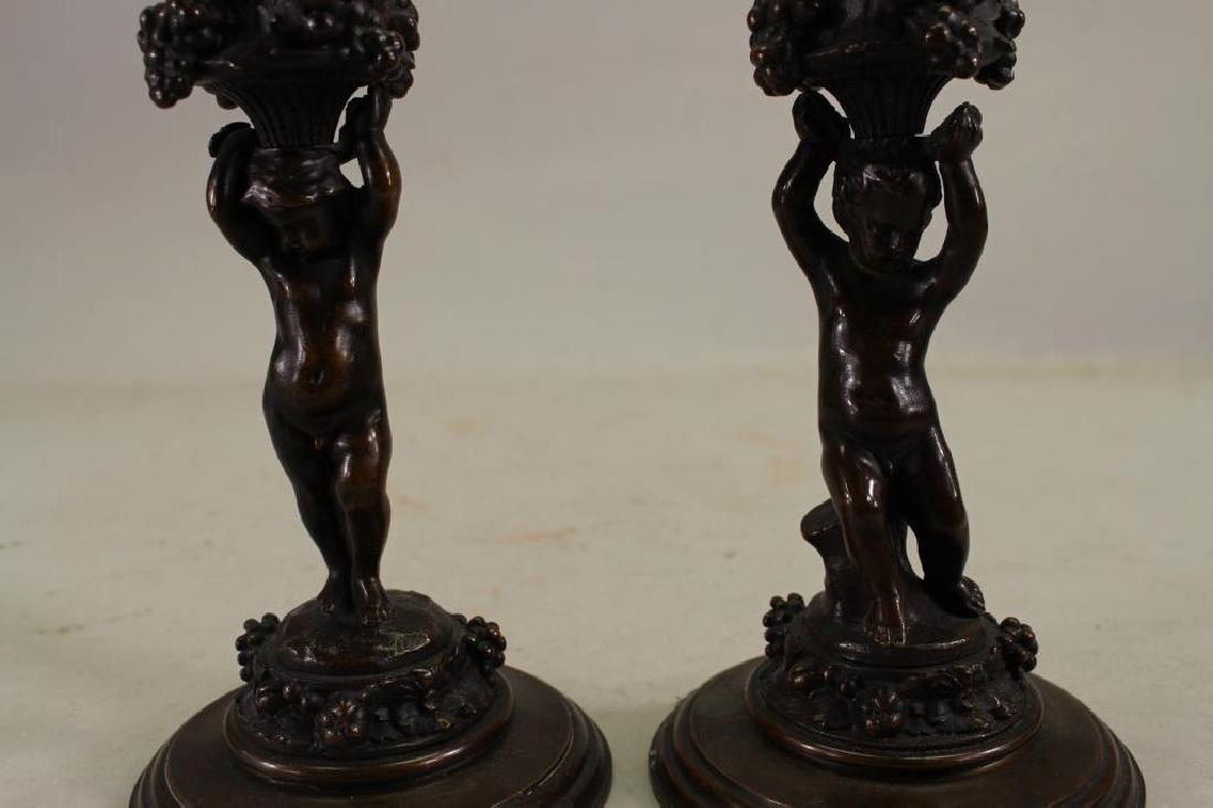Figural Barbedienne Cherub Candle Sticks - 2