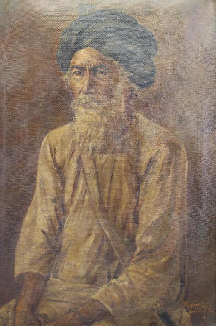 Antique Orientalist Portrait of Moorish Man, Signd - 2