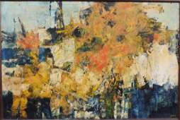 Mid 20th C. Abstract Oil on Canvas, Signed