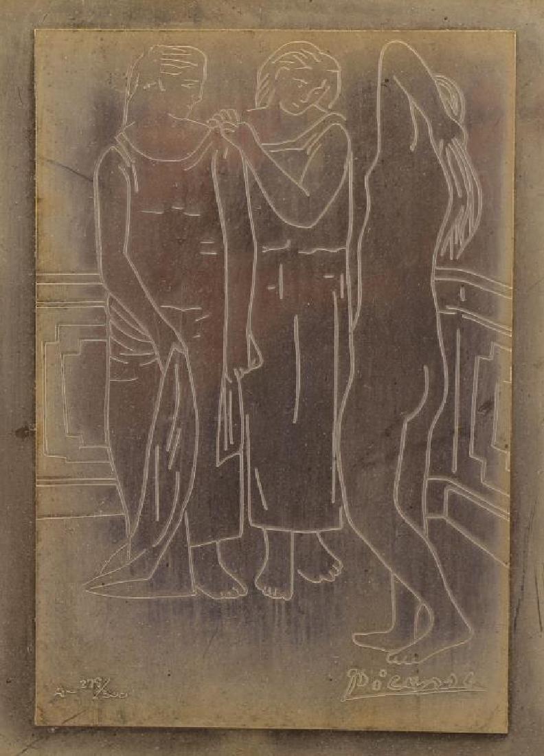 279/300 After Picasso, Framed Copper Plaque - 2