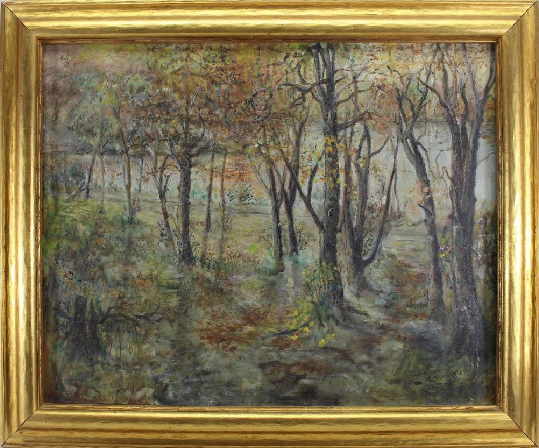 Signed, American School Ptg of Wooded Landscape