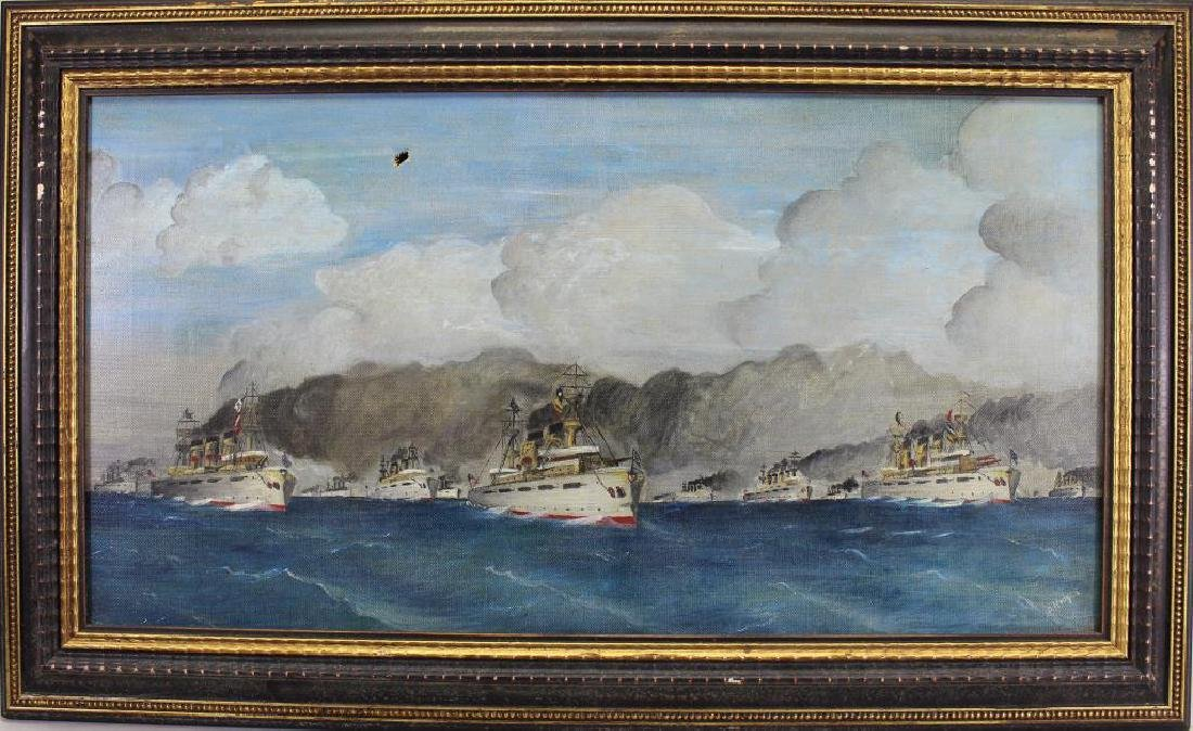 Hodges, Signed Painting of a Fleet of Ships