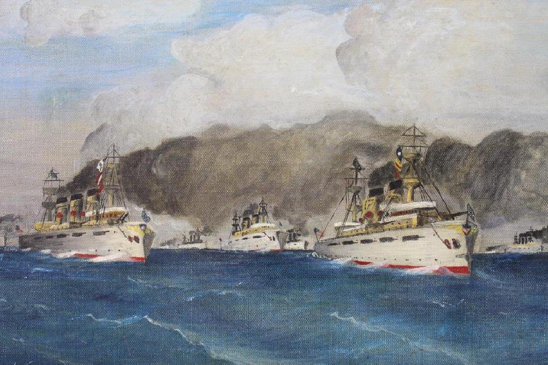 Hodges, Signed Painting of a Fleet of Ships - 2