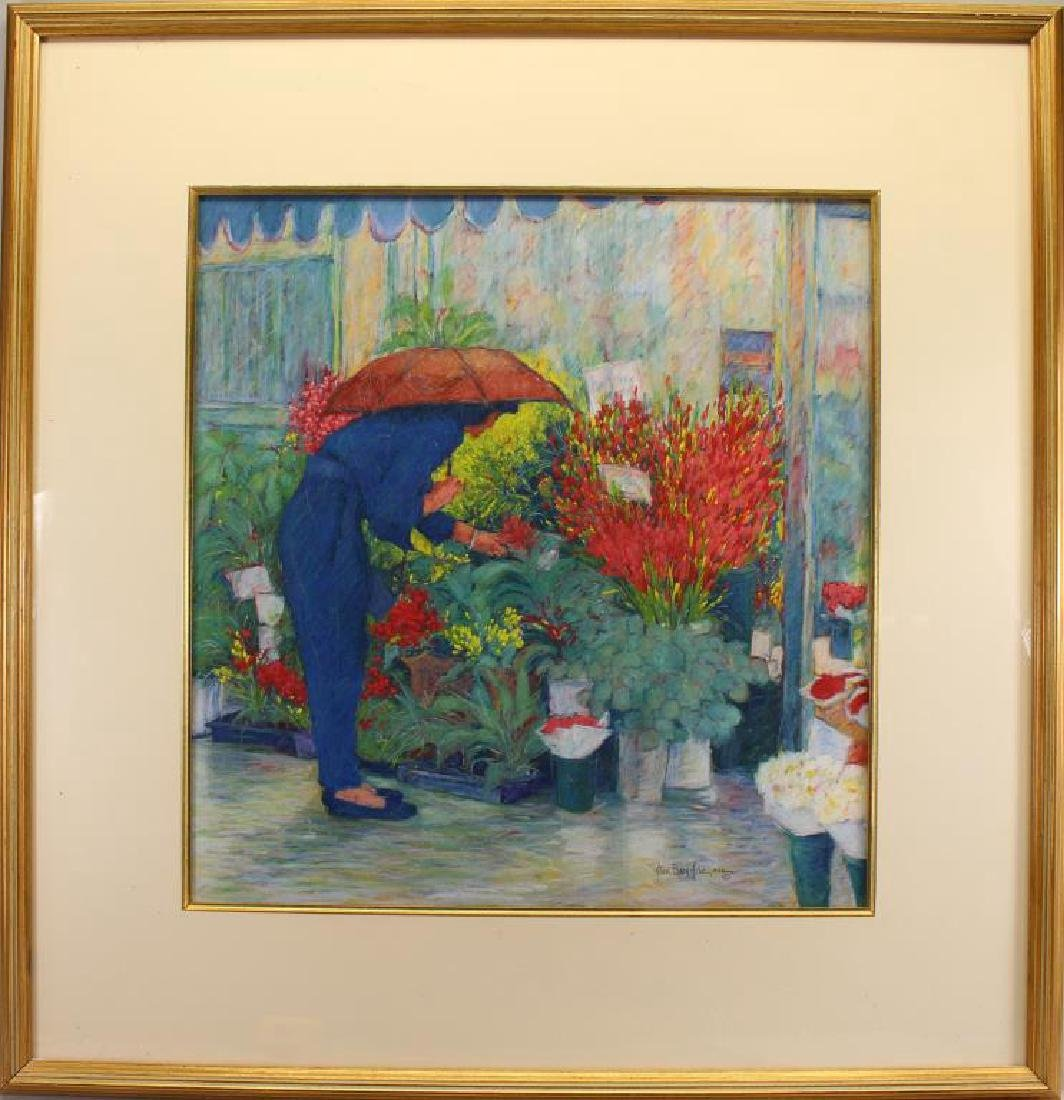 Alice Hyde PSA, Pastel of Woman at Flower Market