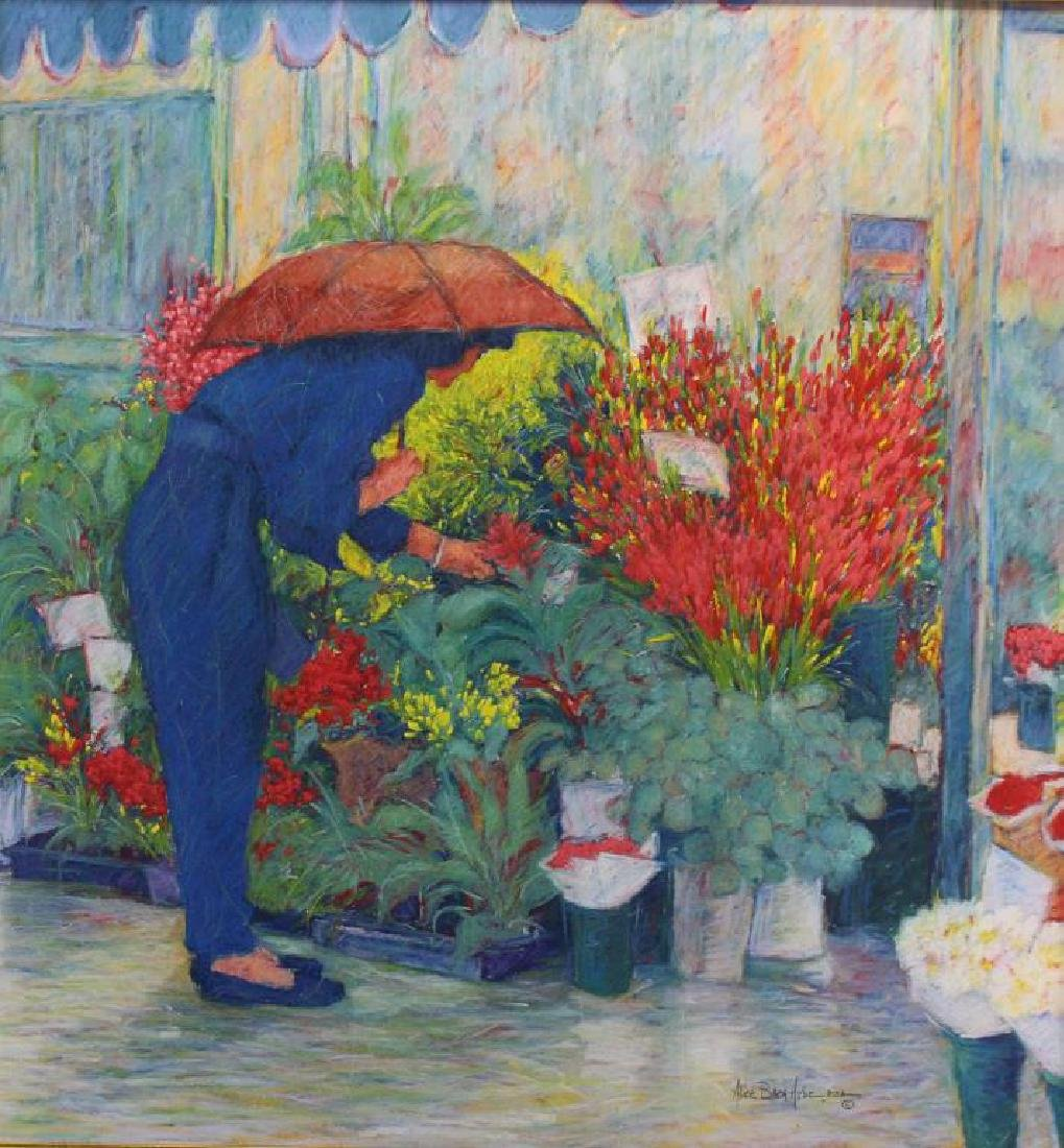 Alice Hyde PSA, Pastel of Woman at Flower Market - 2