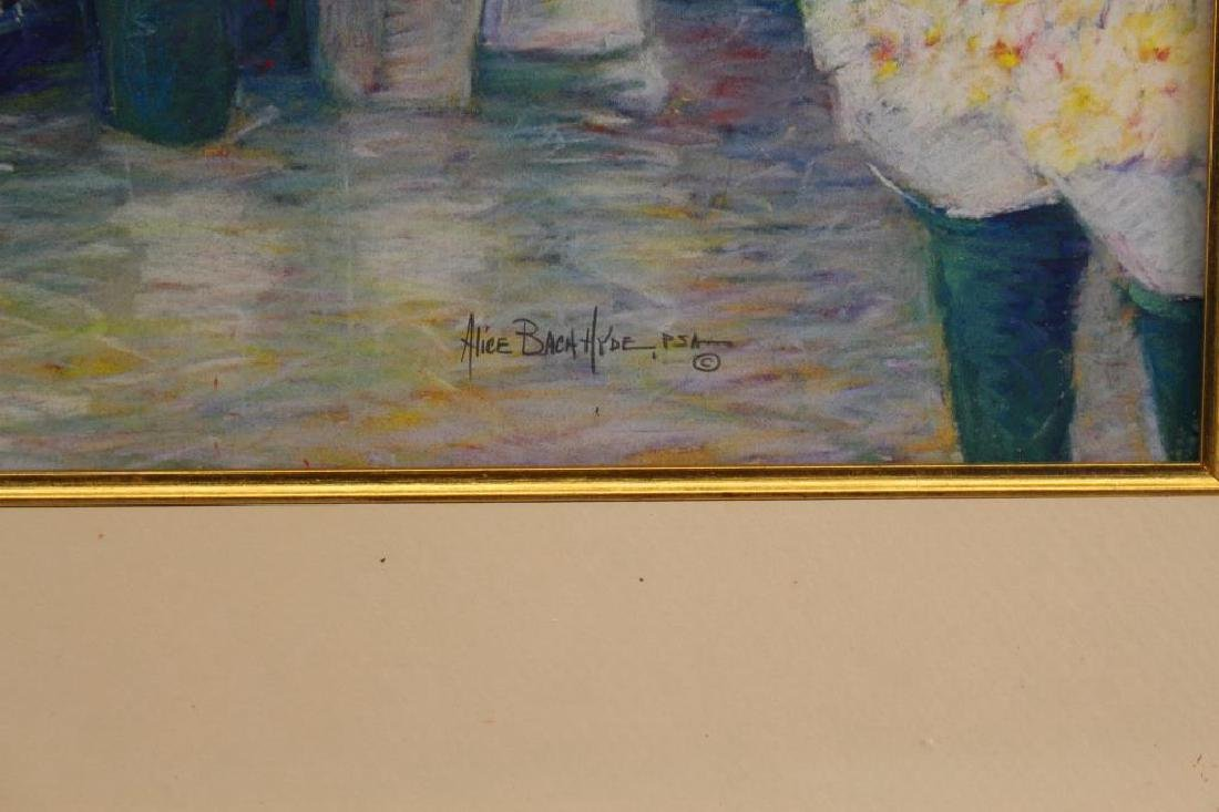 Alice Hyde PSA, Pastel of Woman at Flower Market - 3