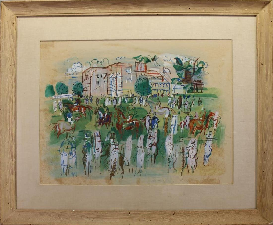 After Dufy, Mixed Media over Print. Racetrack