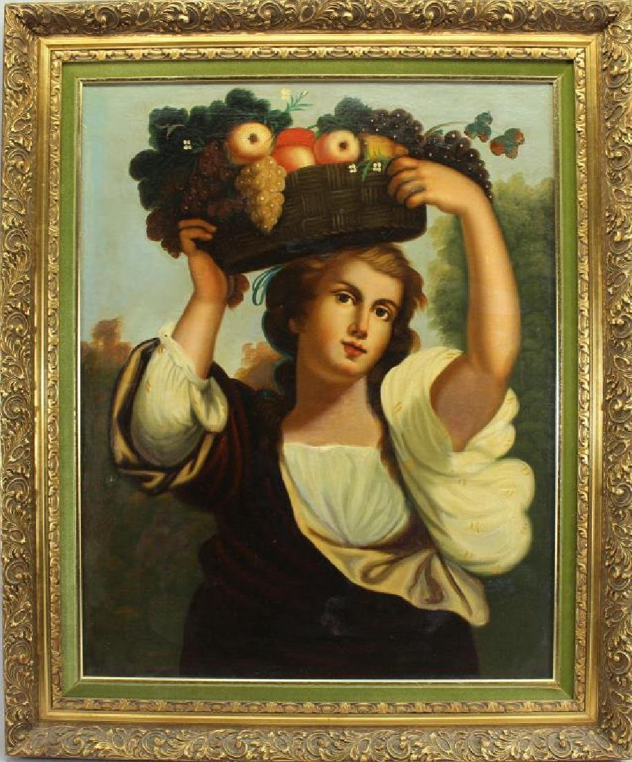 After Bouguereau, Young Girl with Basket of Fruit