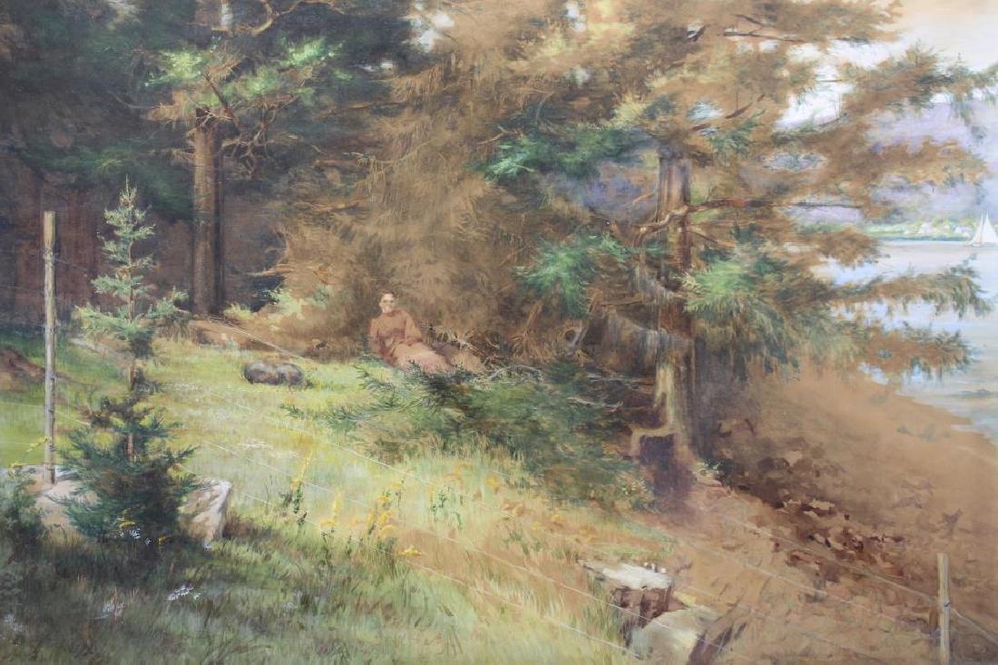 American School, Man Resting Near River - 2
