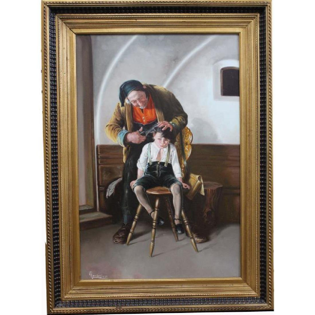 Large Painting of A Barber & Young Boy