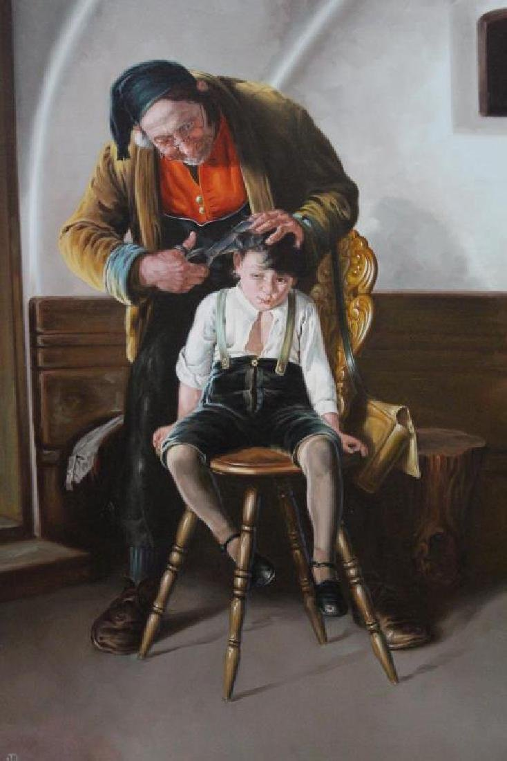 Large Painting of A Barber & Young Boy - 2