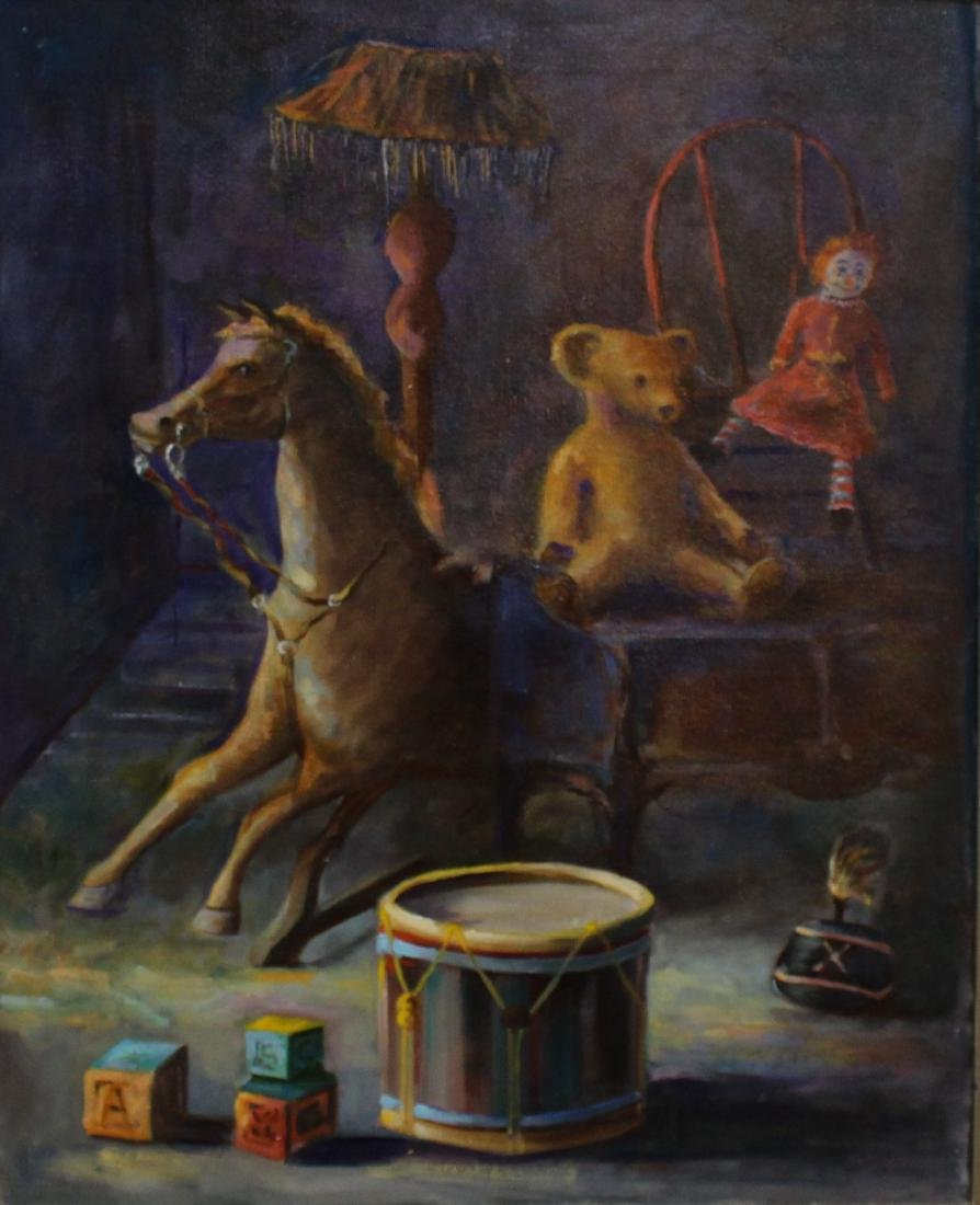 Signed, 20th C. Painting of a Child's Playroom