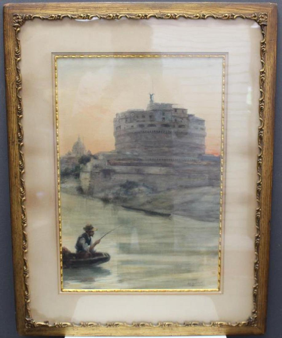 "Signed, ""...Lamberti?"" European School Watercolor"