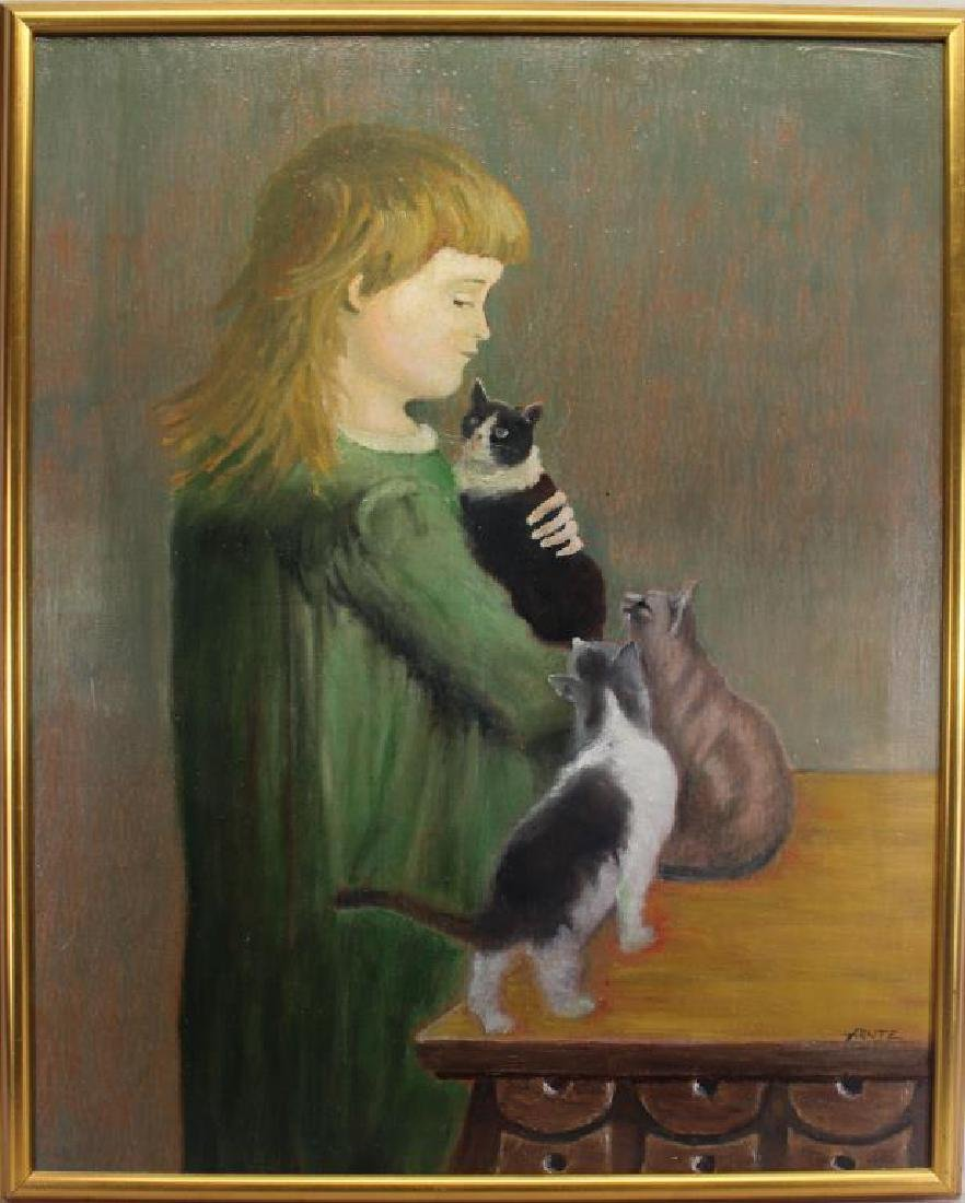 Arntz, Signed Painting of Young Girl with Cats