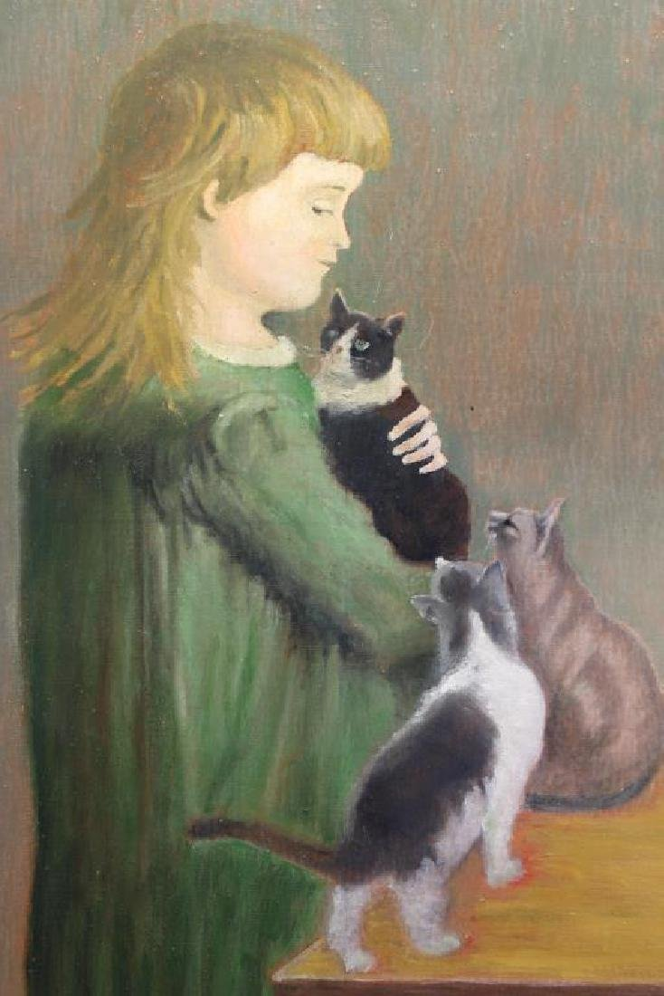 Arntz, Signed Painting of Young Girl with Cats - 2