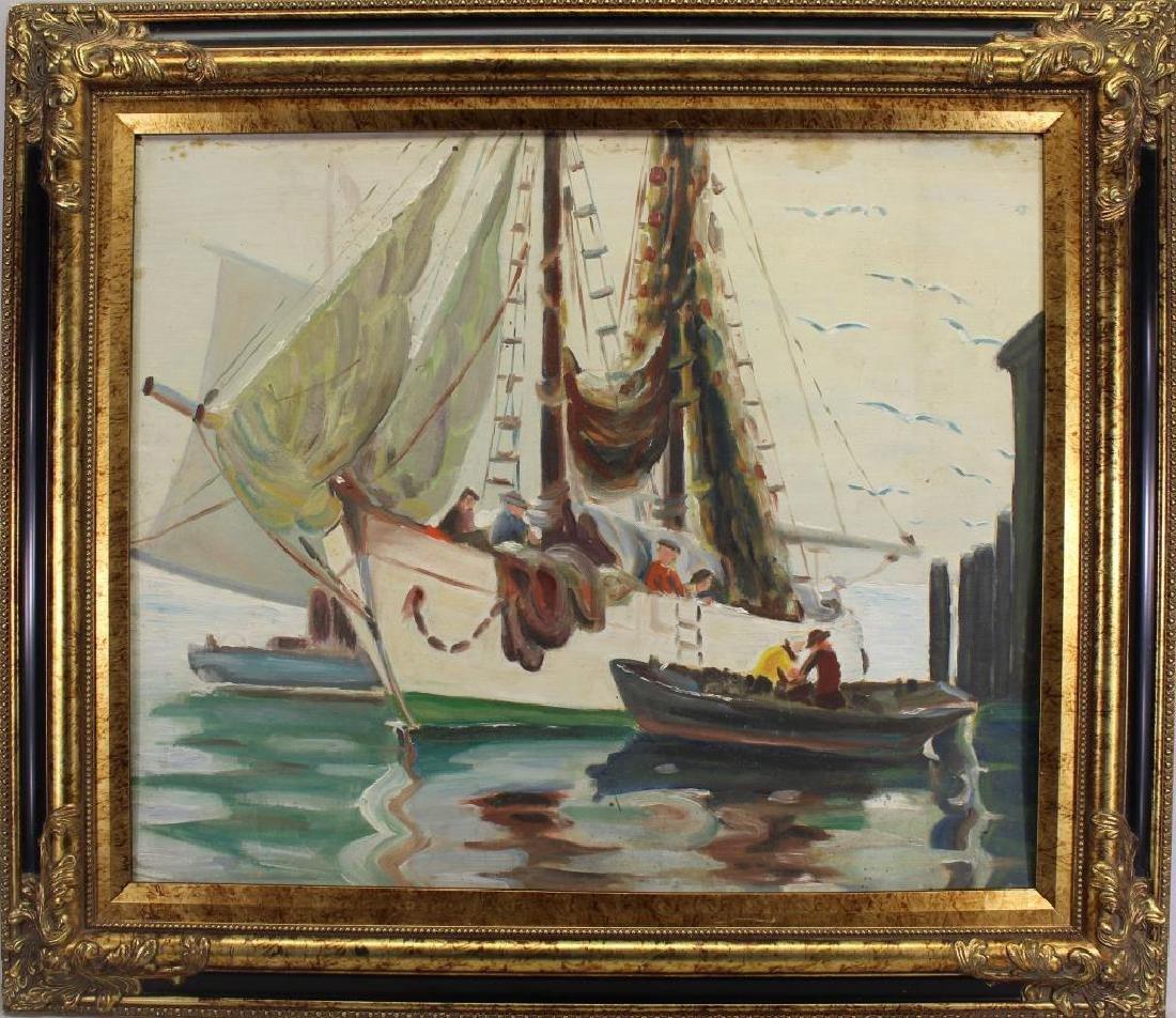 American School, Painting of Fishermen in Harbor