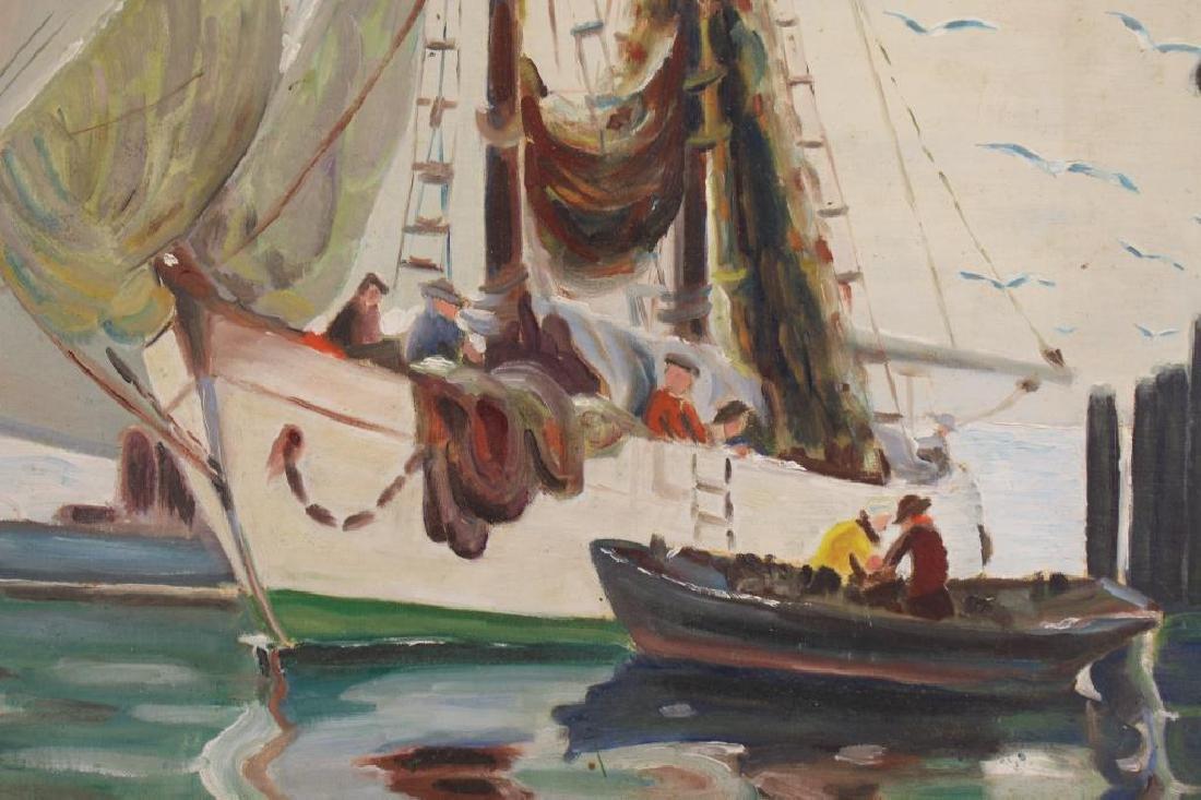 American School, Painting of Fishermen in Harbor - 2