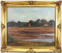 Sgnd 19th C Painting of a River Landscape, Cottage