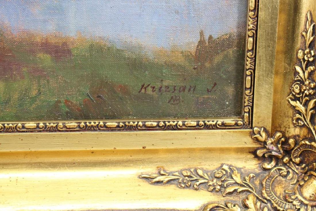 Sgnd 19th C Painting of a River Landscape, Cottage - 3