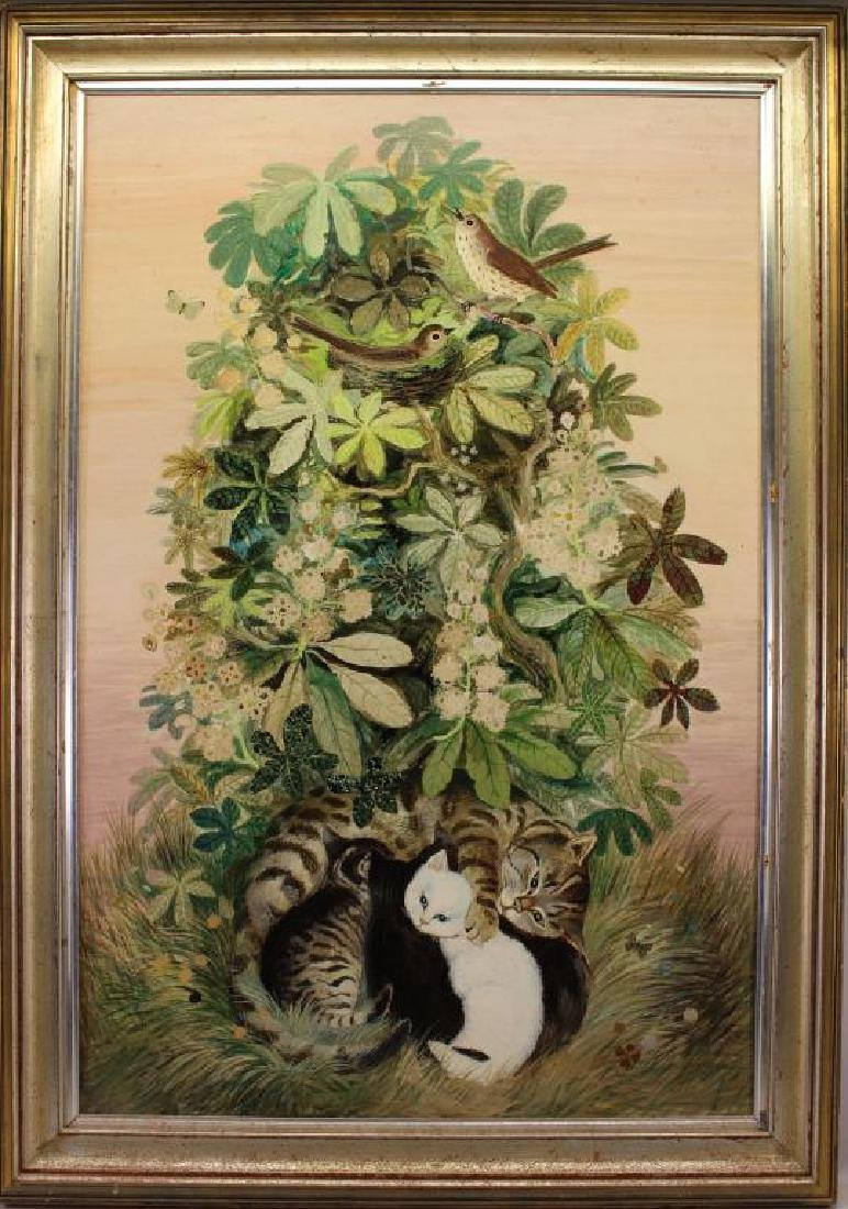 Signed, Painting of Kittens, Birds & Wildflowers