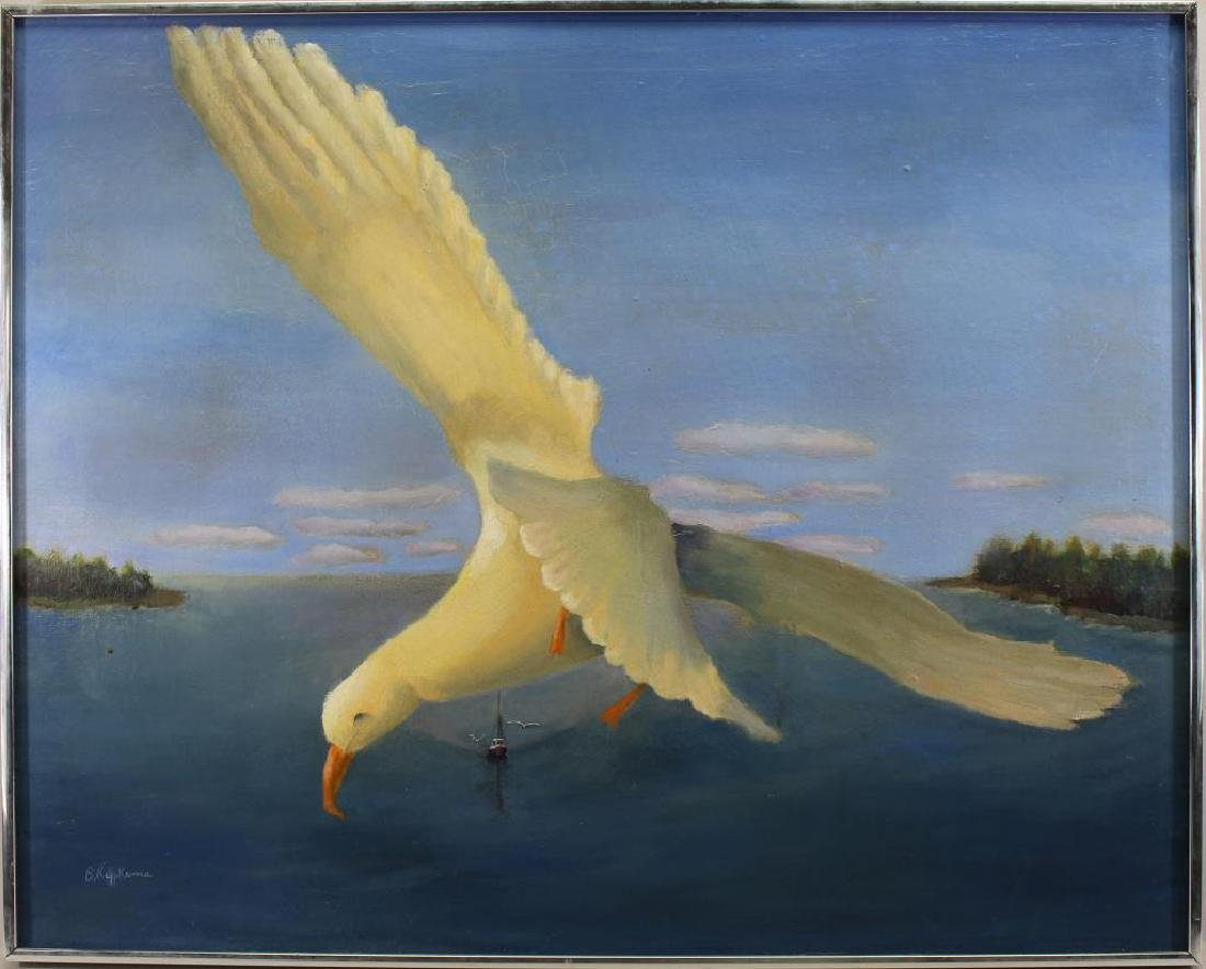 """Flying High"" Seagull in Flight Near Coast, Signed"