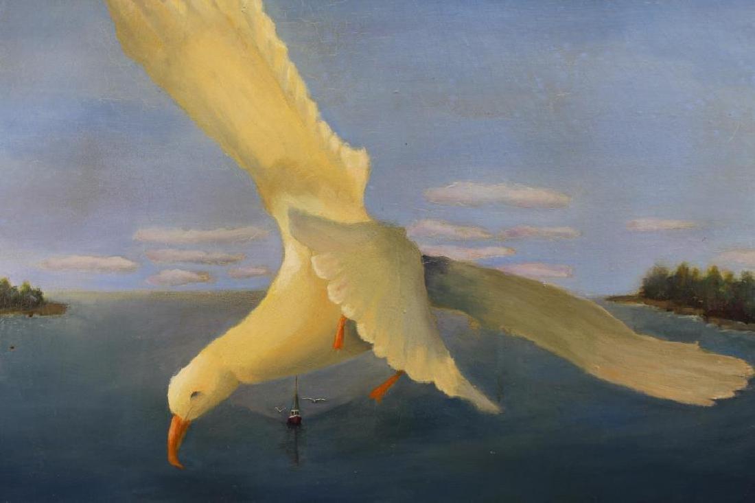 """Flying High"" Seagull in Flight Near Coast, Signed - 2"