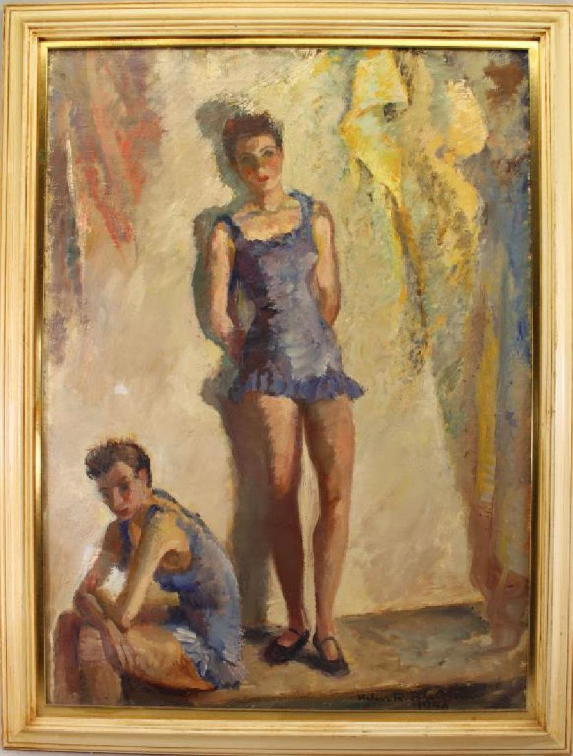 1948, Signed Painting of Two Young Ballerinas