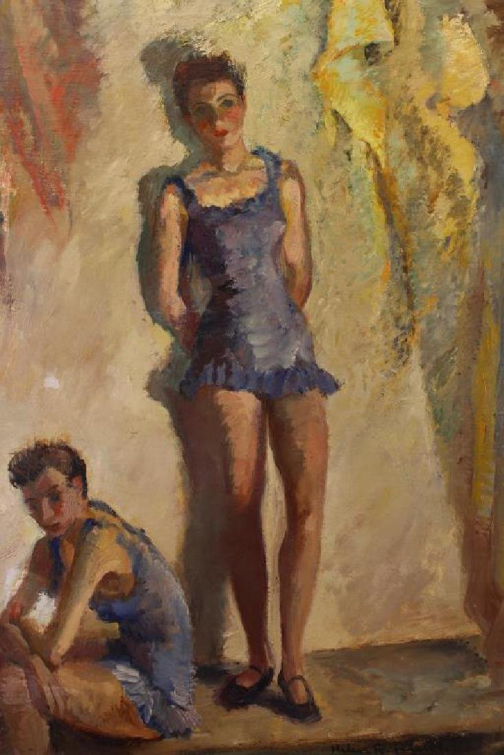 1948, Signed Painting of Two Young Ballerinas - 2