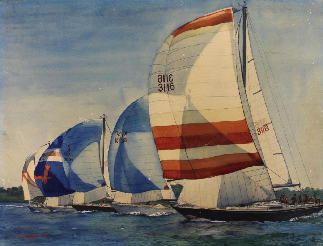American School, '82 Yacht Racing Scene. Signed