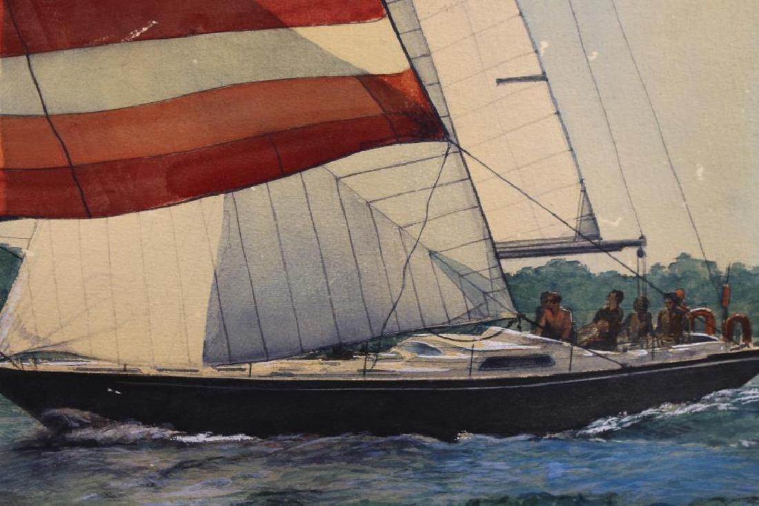 American School, '82 Yacht Racing Scene. Signed - 2