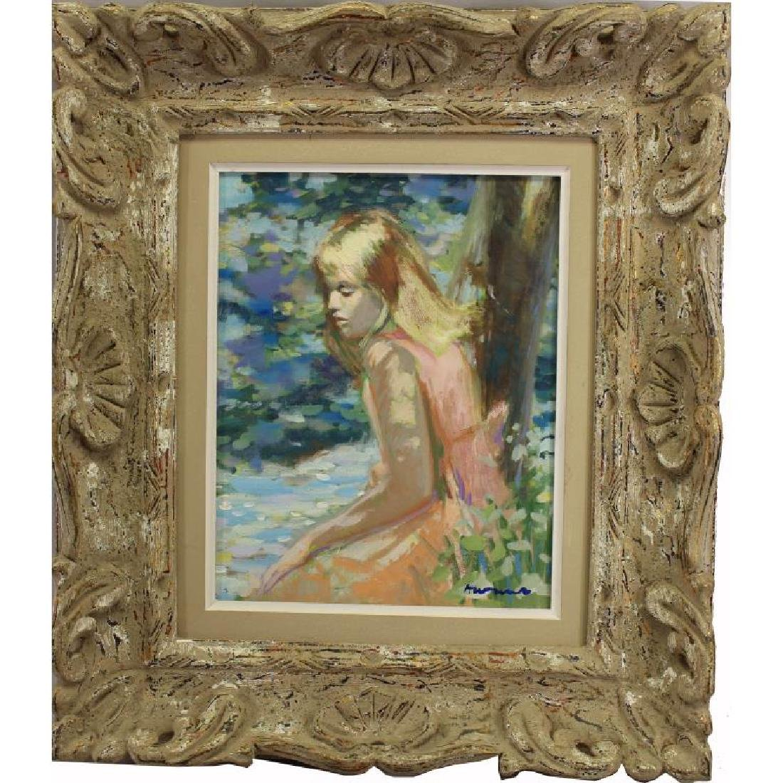 German School Impressionist Painting of Young Girl