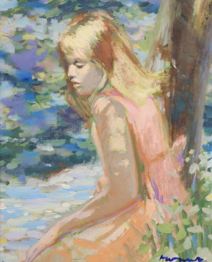 German School Impressionist Painting of Young Girl - 2