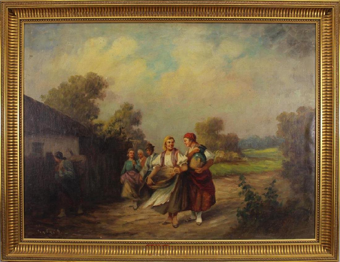 European School, Figures Walking Along Path