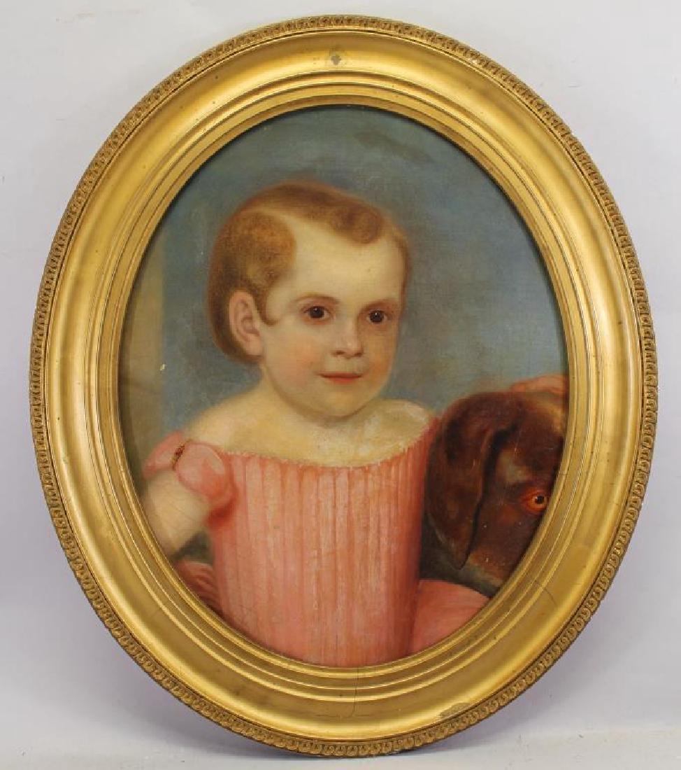 American School, 19th C Portrait Girl & Dog