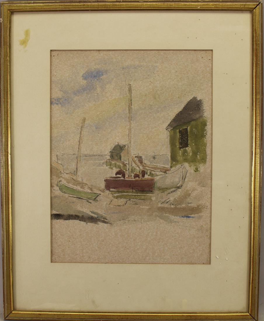 20th C. Watercolor, Boats at Dock. Ex Christie's