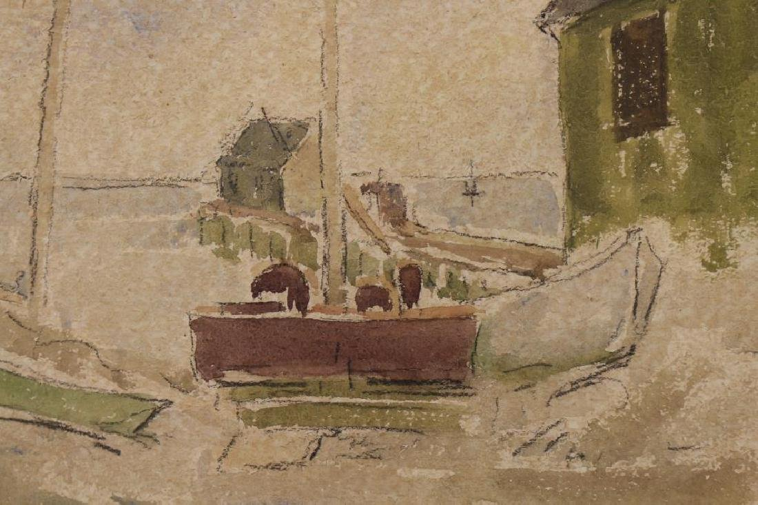 20th C. Watercolor, Boats at Dock. Ex Christie's - 2