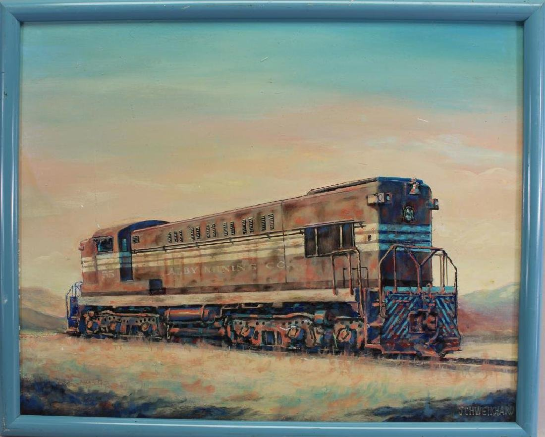 20th C. Painting of Locomotive, Signed