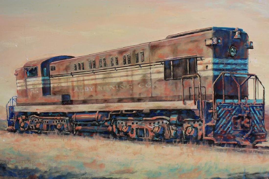 20th C. Painting of Locomotive, Signed - 2