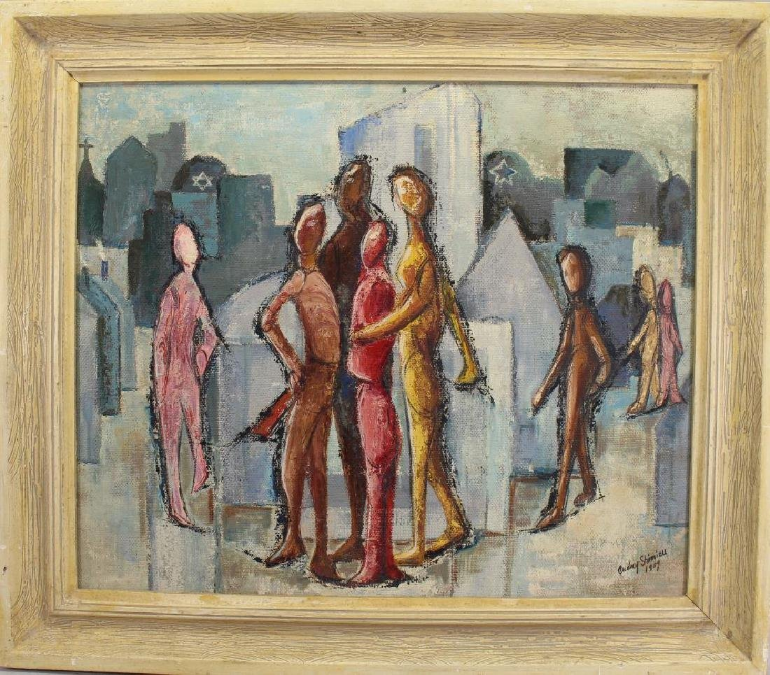 "'59, ""Brotherhood Thru Education"" Judaica Painting"