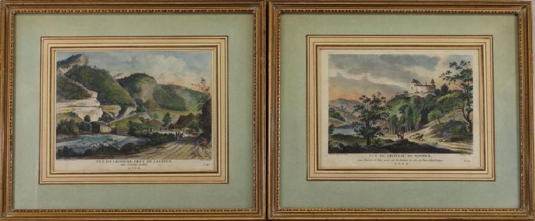 (2) Hand Colored Engravings of French Scenes